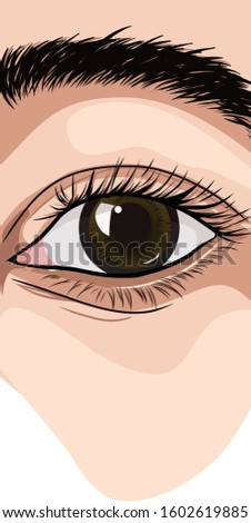 simple eye drawing and design, with cool and cool colors