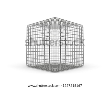 simple faraday cage design made of iron. 3d illustration. suitable for themes about electricy and faraday