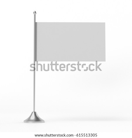 Simple flag on a pole. 3D rendering #615513305