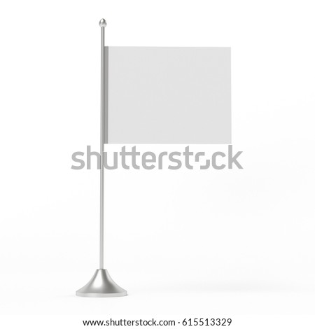 Simple flag on a pole. 3D rendering #615513329