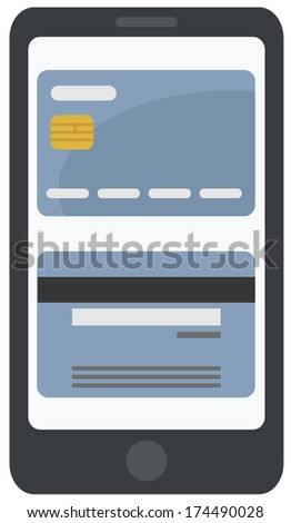 simple flat illustration of smartphone processing blue credit card, isolated on white background