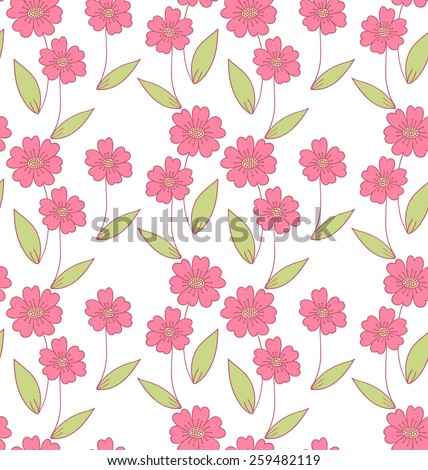 Simple flower doodle seamless pattern.