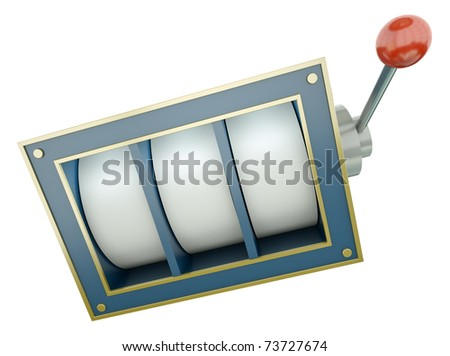 Simple fruit machine with blank reels over white background. 3D render.
