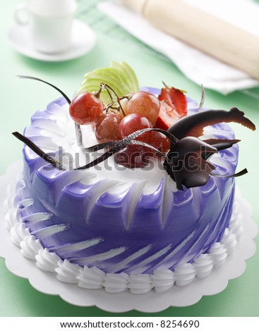 simple fruits cake with some decoration