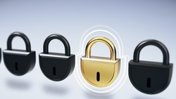 Simple group of black closed locks with one golden lock animation on light background. Access concept 3d render.