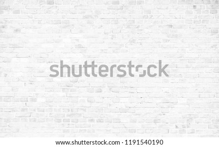 Simple grungy white brick wall with light gray shades seamless pattern surface texture background. #1191540190