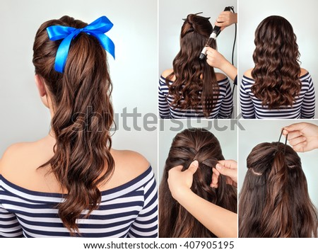 simple hair style design royalty free hairdo cascade braid on curly hair 5039