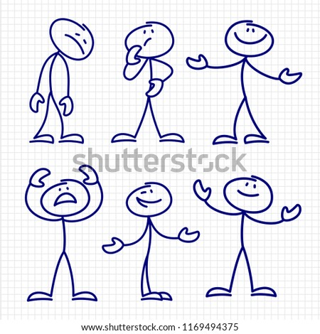 Simple hand drawn stick figures set . Figure stick drawing sketch character illustration