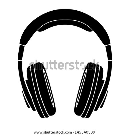 simple headphones in silhouette, stock photo 145540339 : shutterstock