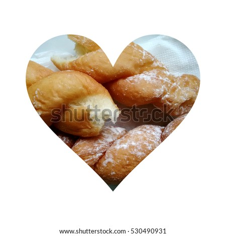 Simple heart filled with doughnuts texture #530490931