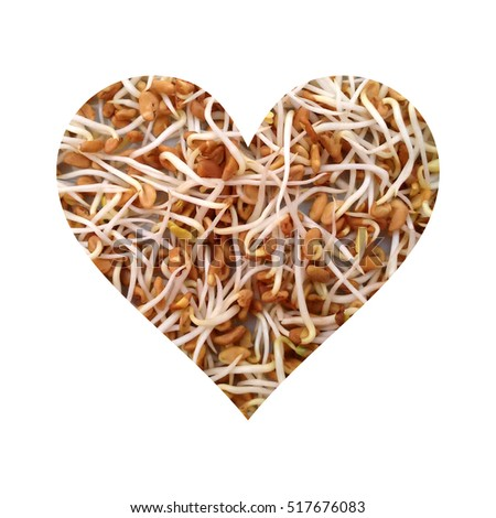 Simple heart filled with fenugreek sprouts texture #517676083