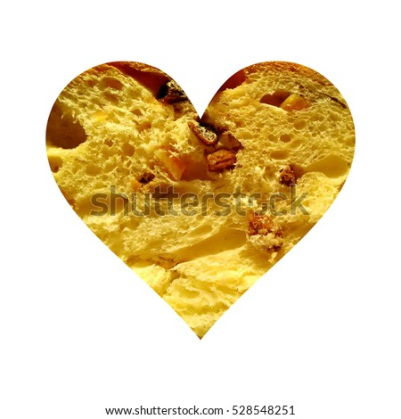 Simple heart filled with panettone or sweet bread texture #528548251