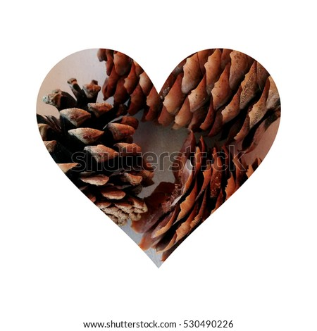 Simple heart filled with pine cones texture #530490226