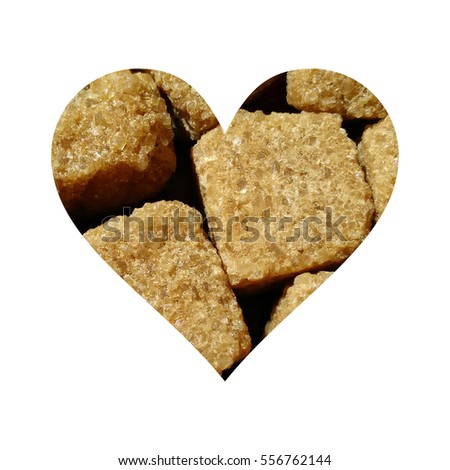 Simple heart form full of brown sugar cubes, on white background #556762144