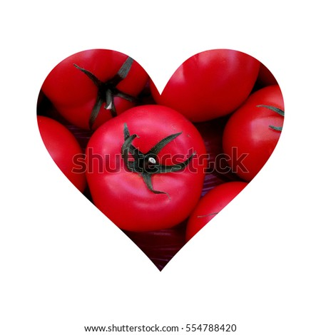 Simple heart form full of tomatoes with stem on white background #554788420