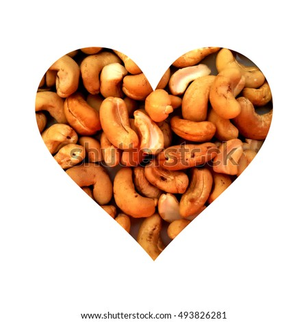 Simple heart shape filled with cashews texture #493826281