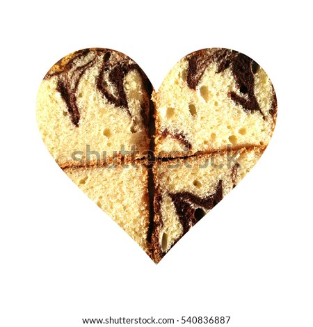 Simple heart shape filled with four slices of cocoa sponge cake set as a plus sign, on white background #540836887