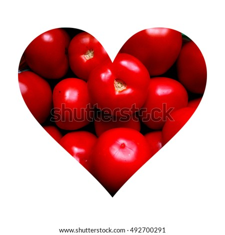 Simple heart shape filled with tomatoes texture #492700291