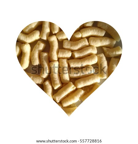 Simple heart shape full of corn puffs, on white background #557728816