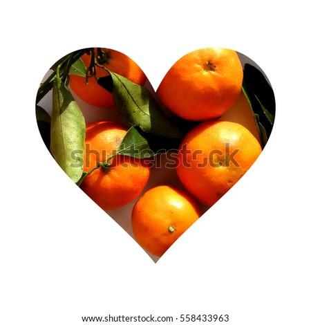 Simple heart shape full of tangerines, on white background #558433963