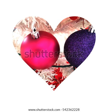 Simple heart silhouette filled with two Christmas globes: one colored with pink and the other one with purple #542362228