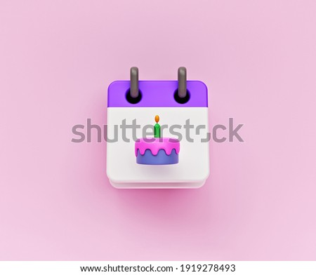 simple icon. calendar with cake. birthday date concept. 3d rendering