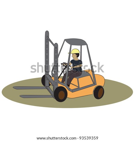 Simple illustration forklift worker, driver in an action of operating  his yellow forklift on desaturated green ground on a white background.