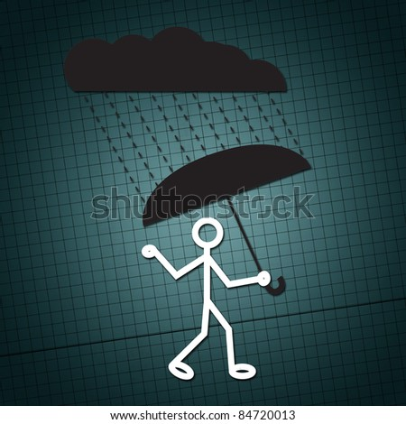 Simple illustration of a humanoid figure with umbrella on a rainy day.
