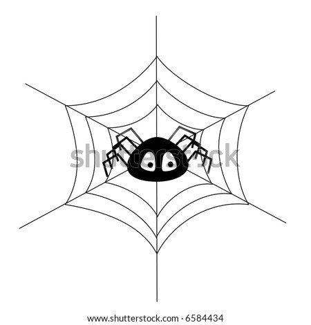 Simple illustration of a toon spider in a web