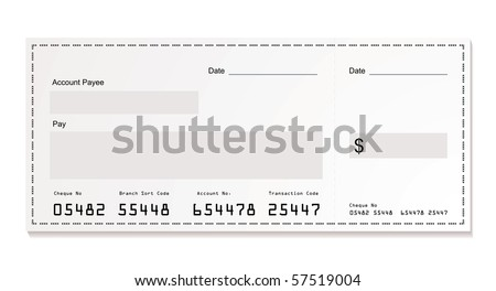 Simple illustration of dollar white cheque with space for your own text