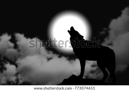 Simple illustration of wolf howling at the moon