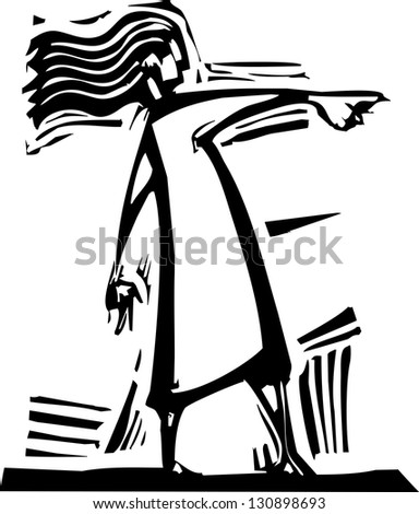 Simple image of a woman pointing to the right. - stock photo