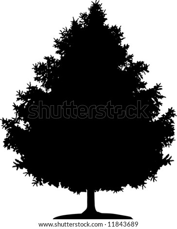Simple image of black silhouette of Christmas tree on white background.