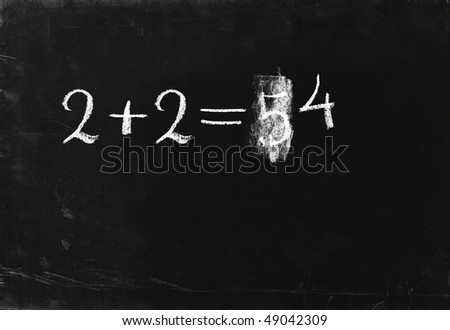 Simple math operation writing chalk on blackboard. 2+2=4