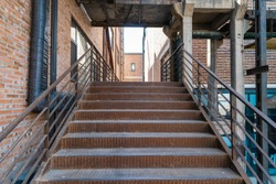 Simple metal stairs in the factory