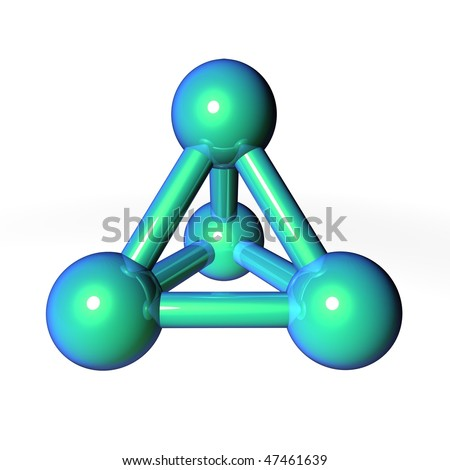 simple metallic green-blue molecular structure rendered in 3D
