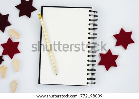 Simple minimalistic flat lay scene empty notebook #772198009