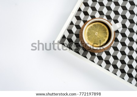 Simple minimalistic flat lay scene tea cup on a tray #772197898