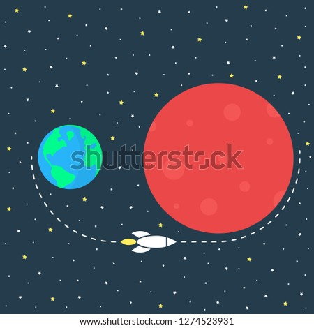 simple mission to mars image. concept of sci-fi, futuristic, orb, desert, spacecraft, trip, explore, voyage, settlement, trajectory, surface flat style trend modern graphic design on dark background