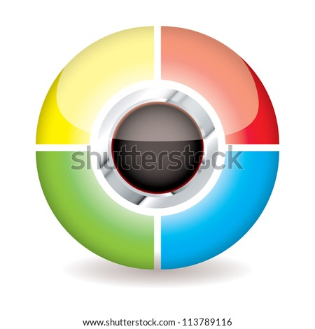Simple modern icon symbol with bright colours and drop shadow
