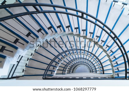 simple modern semicircle staircase, helical stairway, view from the top down