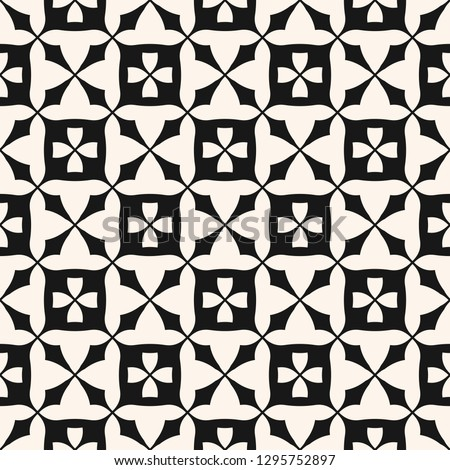 Simple monochrome floral seamless pattern. Vintage geometric texture with flower shapes, square grid, lattice, crosses, repeat tiles. Raster abstract black and white background. Repeatable design