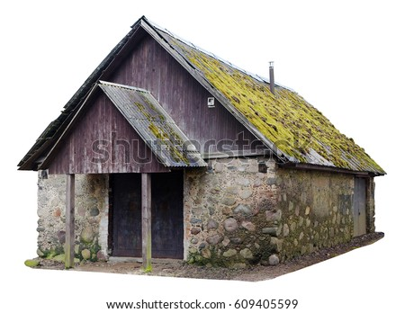 Simple  no name wooden forest vintage  rural shed for storage of firewood and agricultural tools. Isolated