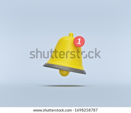 simple Notification bell icon isolated on pastel background. one new notification concept. Social Media element. 3d rendering