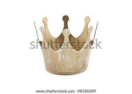 Simple old golden crown isolated over white