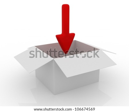 Simple open box with red arrow on white