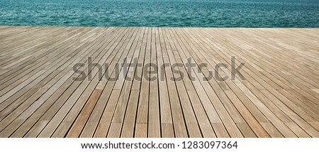 simple panoramic background wallpaper pattern of wooden deck floor sea waterfront perspective foreshortening material surface with empty copy space for your text or inscription  Stock photo ©
