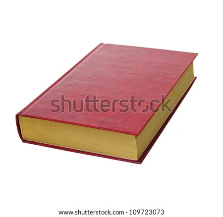simple rad hardcover book with gold pages isolated on white background