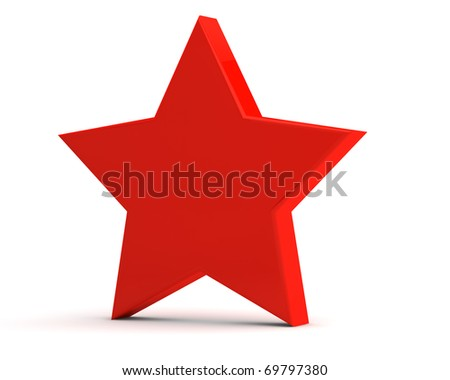 Simple red matte star on a light background