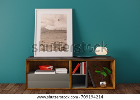 Simple room interior with picture frame, books, lamp and other items on wooden cupboard. Blue wall background. Decor, decoration and design concept. 3D Rendering  #709194214